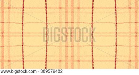 Yellow Tartan Pattern. Watercolour Check Flannel. Man Stripes For Fabric Design. Seamless Red Tartan