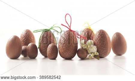 easter chocolate egg on white background