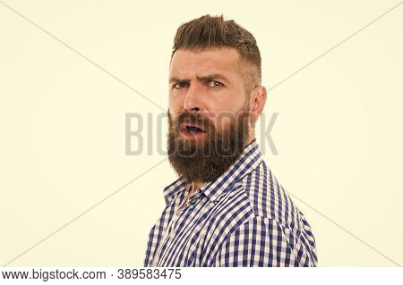Have Some Doubts. Hipster Bearded Face Not Sure In Something. Doubtful Bearded Man On White Backgrou