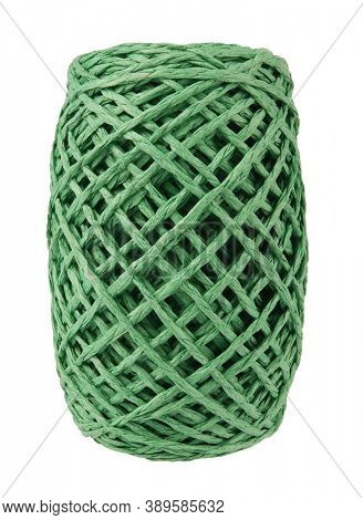 Coil of green decorative paper cord rope isolated on white background