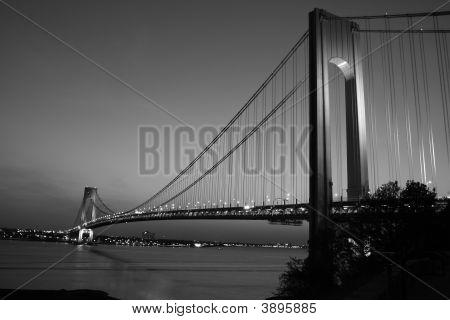 Black And White Photo Of The Verrazano Narrows Bridge At Sunrise