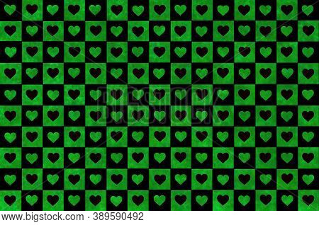 Black Olive Green Checkered Background With Hearts. Checkered Texture. Space For Graphic Design. Cla