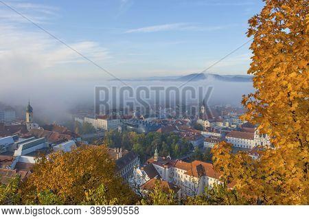 Cityscape Of Graz From Schlossberg Hill, Graz, Styria Region, Austria, In Autumn, At Sunrise