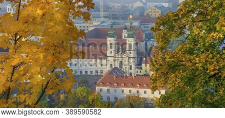 Mariahilfer Church And Historic Buildings, In Graz, Styria Region, Austria, In Autumn, At Sunrise.