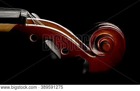 Close Up Macro Of Scroll On Brown Wooden Fiddle Or Violin, Classic Musical Instrument, Over Black Ba