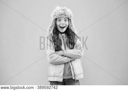 Soft Furry Accessory. Child Long Hair Soft Fur Hat Enjoy Softness. Winter Fashion Concept. Warm Hat