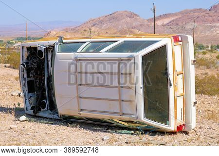 October 6, 2020 In Beatty, Nv:  Abandoned Turned Over Vehicle Left At The Unofficial Junkyard Taken