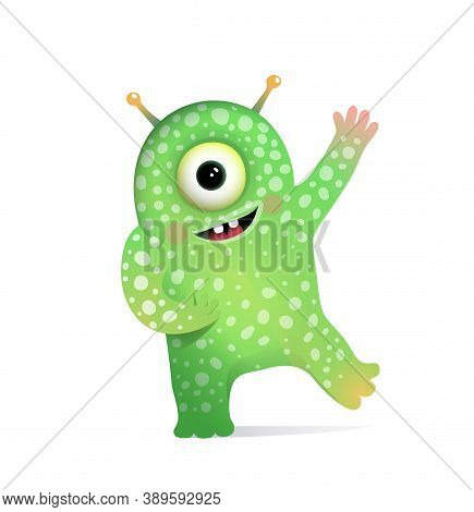Green Alien Monster With Antennas Greeting For Kids. Cute Fictional Creature Character Design For Ch