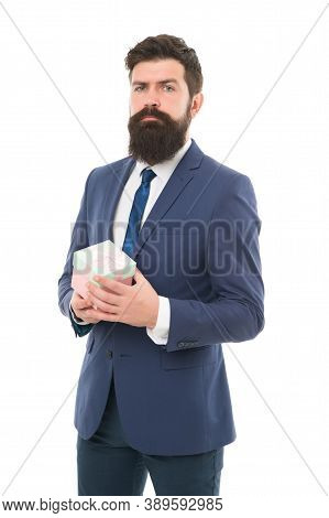 Happy Birthday Shopping. Bearded Man Hold Valentines Present. Boxing Day. Delivery Company Business.