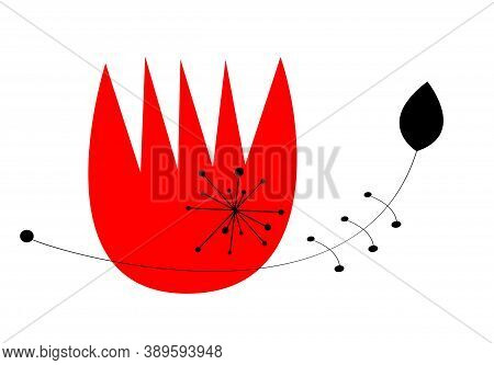 Red Flower With Abstract Floral Shapes Inspired By Modernism.