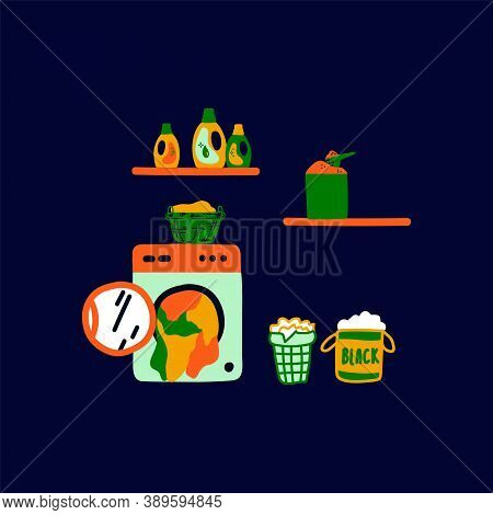 Illustration For A Laundry Room With A Washing Machine And Linen. The Concept Of The Laundry: Washin