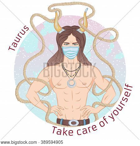 Zodiac. Vector Illustration Of The Astrological Sign Of Taurus As A Man With A Naked Torso. Portrait