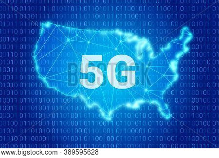 5g Network - Next Generation Wireless Internet Connection. 5g Text On Background Of A Usa Map. Vecto