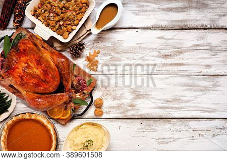 Traditional Thanksgiving Turkey Dinner. Top View Side Border On A Rustic White Wood Background With