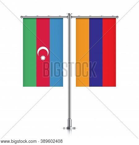 National Flags Of Azerbaijan And Armenia Hanging Side By Side On A Metallic Pole. Armenia Vs Azerbai
