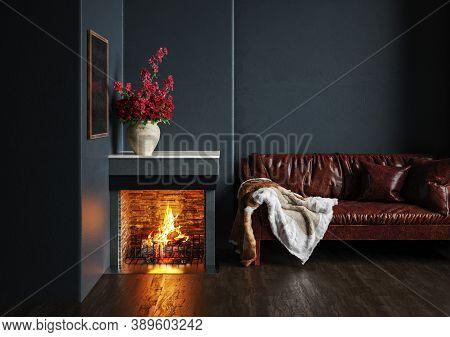Home Interior, Luxury Modern Dark Living Room Interior, Black Empty Wall Mock Up, 3d Illustration