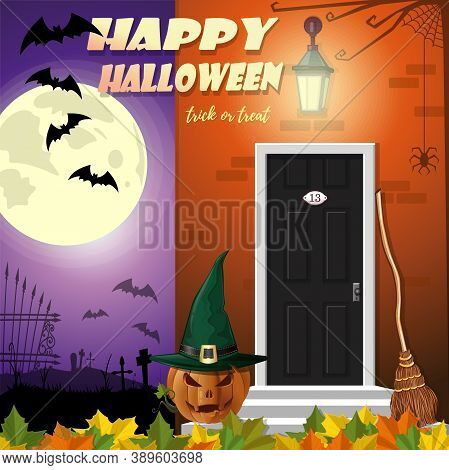 Happy Halloween. Welcome To The Night Party. Trick Or Treat. Halloween Banner Design. Vector Illustr