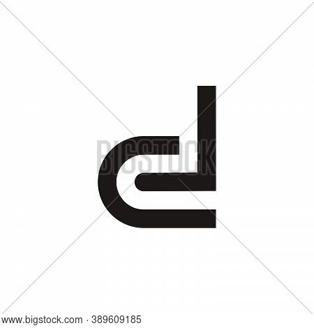 Abstract Letter Dl Simple Geometric Line Symbol Logo Vector