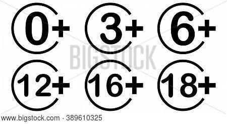 Age Limitation. Age Limit. Warning Signs Set. Control Symbol. Vector Illustration.
