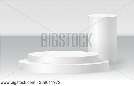 Cylinder Podium Scene, Winner Pedestal. White Cylinder Template For Showroom Podium Scene. Vector Wh