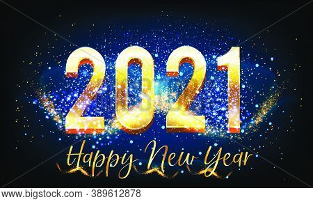 Shining Happy New Year 2021 Background With Golden Text Vector Illustration - New Year 2021 Backgrou