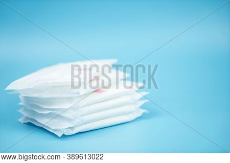 Sanitary Pad For Woman Hygiene Protection. Menstrual Woman Pad For Hygiene Or Blood Period, Copy Spa