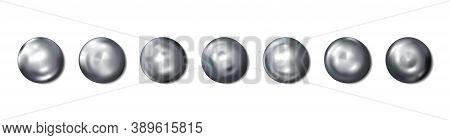 Realistic Construction Rivets Heads Metal Set Isolated On White Background. Shiny Caps. In Surface T
