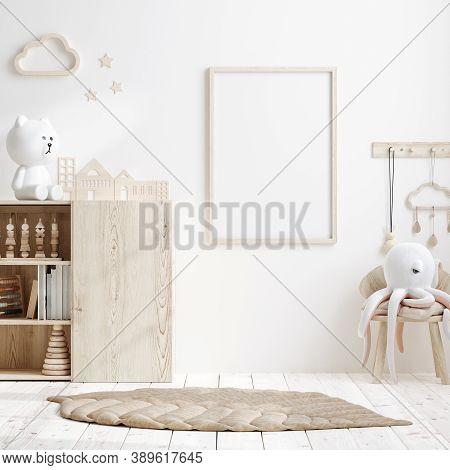 Mock Up Frame In Children Room With Natural Wooden Furniture, 3d Illustration