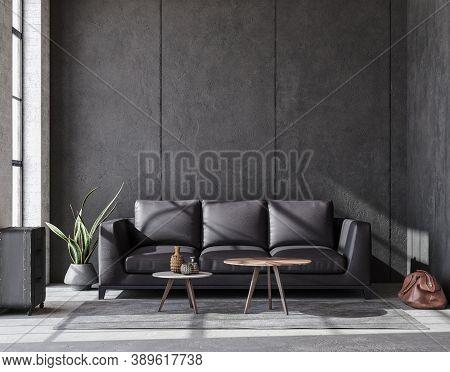 Luxury Black Industrial Living Room, Loft Interior, 3d Illustration