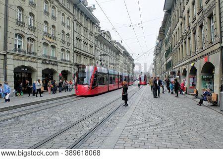 Bern Switzerland-march 28, 2017: Cityscape Of Bern On Summer Time On March 28, 2017 In Bern, Switzer