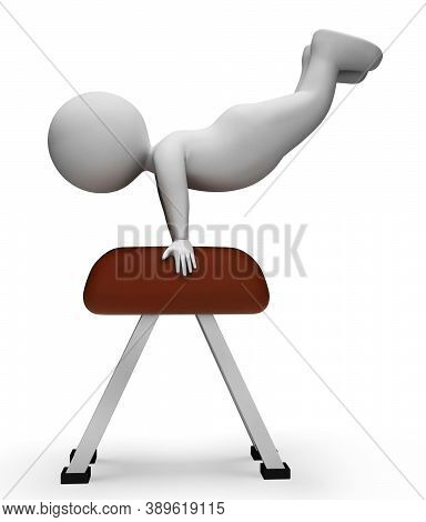 Pommel Horse Representing Get Fit And Agility 3d Rendering