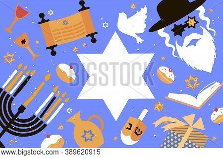 Happy Hanukkah. The Jewish Festival Of Lights. Jew Man Character In David Stars Glasses. Festive Men
