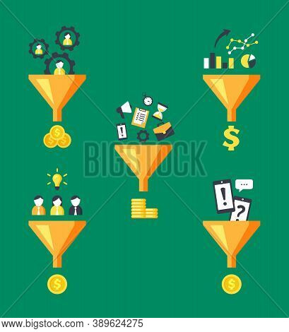 Money Funnels Converters Set. Marketing Optimization Converting Human Labor And Time Into Financial