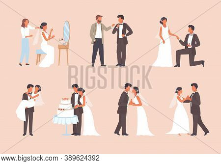 People Get Married Set. Man In Tuxedo And Woman White Dress Cutting Wedding Cake Romantic Pair Dance