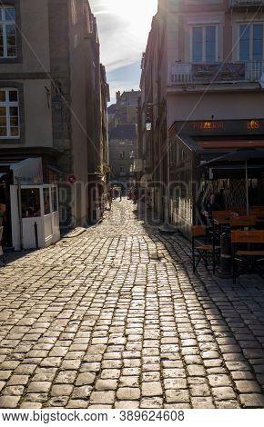 Saint-malo, France - September 15, 2018: Narrow Street In St Malo, Brittany, France