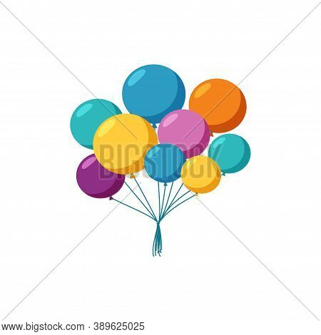 Flying Balloons For A Holiday Celebration. Bunch Of Helium Balloons. Vector Illustration In Cute Car