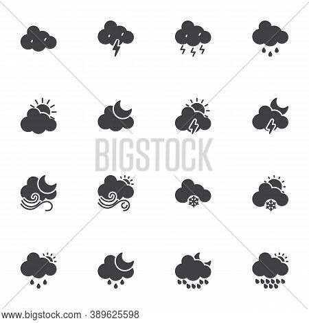 Weather Cloud Vector Icons Set, Modern Solid Symbol Collection, Filled Style Pictogram Pack. Signs,