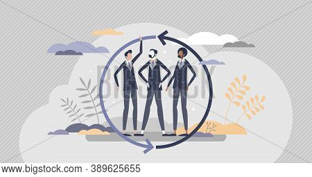 Teamwork Partnership As Business Collaboration Assistance Tiny Person Concept. Confident Leaders Con