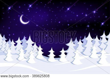 Winter Snow-covered Forest On The Background Of A Beautiful Starry Sky.