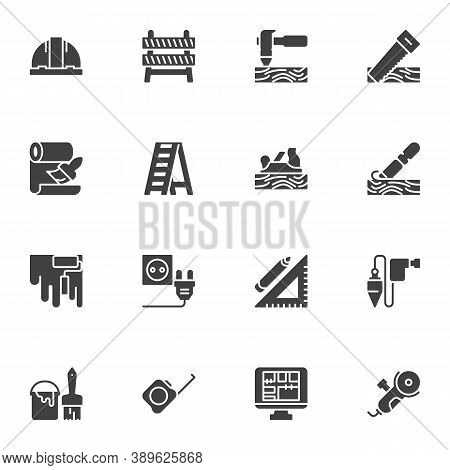 Construction And Repair Tool Vector Icons Set, Modern Solid Symbol Collection, Filled Style Pictogra