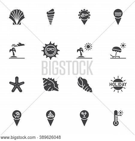 Summer Holiday Vector Icons Set, Modern Solid Symbol Collection, Filled Style Pictogram Pack. Signs,