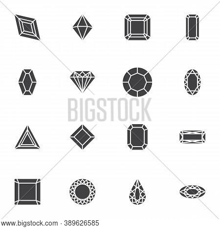 Precious Stone Vector Icons Set, Modern Solid Symbol Collection, Filled Style Pictogram Pack. Signs,