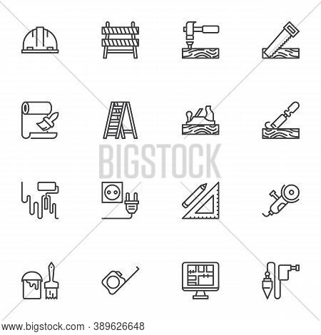 Construction And Repair Tool Line Icons Set, Outline Vector Symbol Collection, Linear Style Pictogra