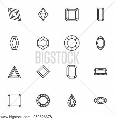 Precious Stone Line Icons Set, Diamonds Outline Vector Symbol Collection, Linear Style Pictogram Pac