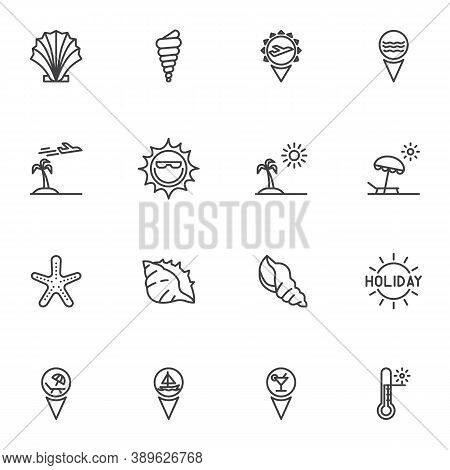 Summer Holiday Line Icons Set, Outline Vector Symbol Collection, Linear Style Pictogram Pack. Signs,