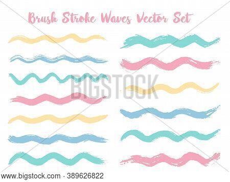 Artistic Brush Stroke Waves Vector Set. Hand Drawn Blue Pink Brushstrokes, Ink Splashes, Watercolor