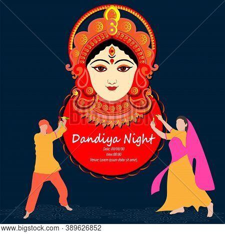 Durga Puja Celebration Poster. Graba Dance And Dandiya Night Abstract. Banner Design.