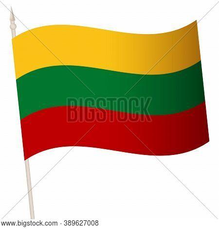 Vector Waving Flag On A Flagpole. The National Flag Of Lithuania.