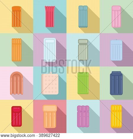 Inflatable Mattress Icons Set. Flat Set Of Inflatable Mattress Vector Icons For Web Design