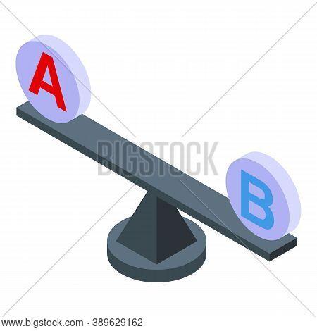 Scales Comparison Icon. Isometric Of Scales Comparison Vector Icon For Web Design Isolated On White